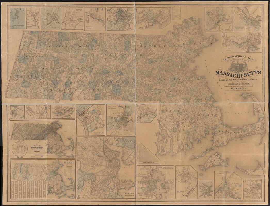 Topographical map of the State of Massachusetts