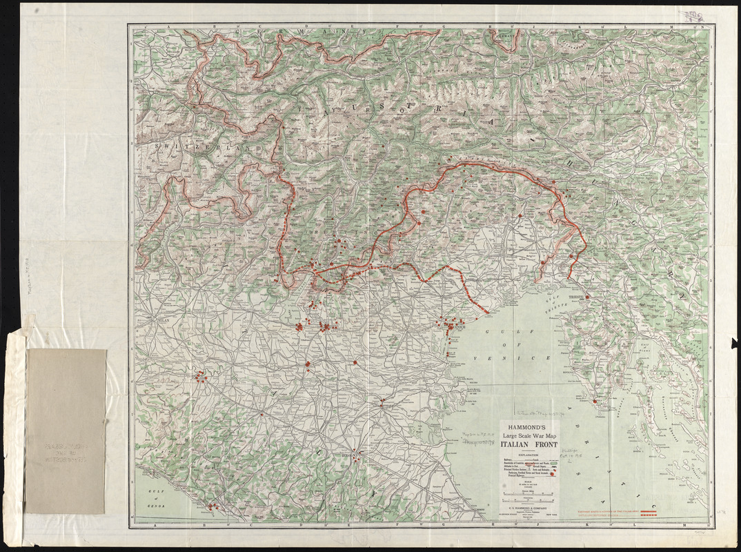 Hammond's large scale war map of the Italian Front