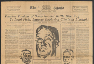 Sacco-Vanzetti Case Records, 1920-1928. Prosecution Papers. Clipping: New York World, October 3, 1926. Box 27, Folder 7, Harvard Law School Library, Historical & Special Collections