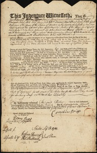 Document of indenture: Servant: Peck, Mary. Master: Briggs, Cornelius. Town of Master: Scituate