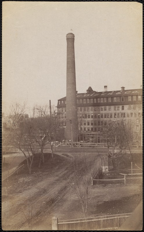 Brick chimney built by Gustavus Pratt for the Dizer Shoe Co. many years ago, and the factory is now destroyed, and the Lincoln-Perrault auto station now stands there