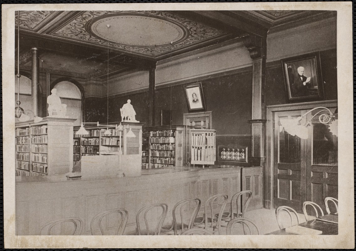 Adult reading room. The Tufts Library - Washington St. Wey. Mass.