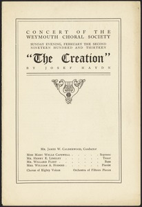 "Concert of the Weymouth Choral Society. ""The Creation"" by Josef Haydn"