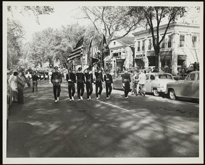 """Old Fashioned Days, 1952: """"The Grenadiers"""" Band marching in the parade"""