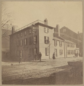 "Boston, corner of Tremont + Hollis Sts. where three members of the ""Boston Tea Party"" lived + were here dressed as Indians."