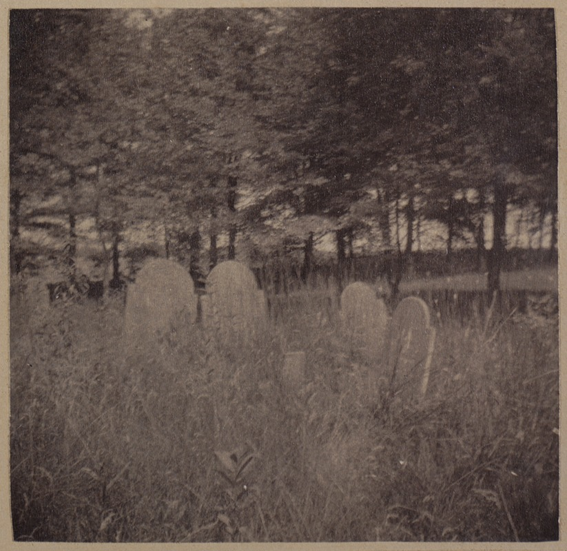 Wayland, burying ground with headstones of master + slaves