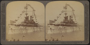 The Battleship Wisconsin decorated in honor of the presidential party, San Francisco, Cal.