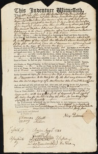Document of indenture: Servant: Nesbatt, Francis. Master: Parkman, Alexander. Town of Master: Boston