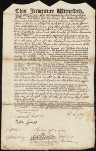 Document of indenture: Servant: Gilpin, John. Master: Crosley, John. Town of Master: Boston