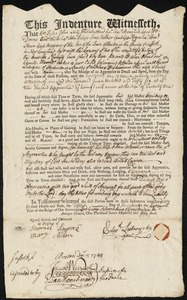 Document of indenture: Servant: Packer, Charles Eburne. Master: Lutwycke, Edward. Town of Master: Hopkinton