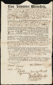 Document of indenture: Servant: Godwin [Goodwin], Benjamin. Master: Parkman, John. Town of Master: Boston