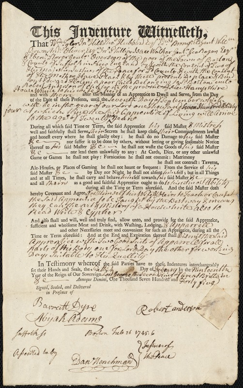 Document of indenture: Servant: Holms, Edward. Master: Anderson, Robert. Town of Master: Chester