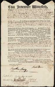 Document of indenture: Servant: Russell, Samuel. Master: Adams, Josiah. Town of Master: Boston