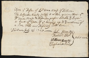 Document of indenture: Servant: Carr, Mary. Master: Morse, Ezra. Town of Master: Dedham. Selectmen of the town of Dedham autograph document signed to the Overseers of the Poor of Boston: Endorsement Certificate for Ezra Morse.