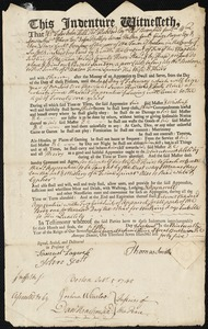 Document of indenture: Servant: Sanson, Edward. Master: Smith, Thomas. Town of Master: Boston