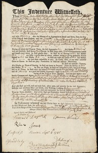 Document of indenture: Servant: Lorten, John. Master: Wheeler, Ephraim. Town of Master: Boston