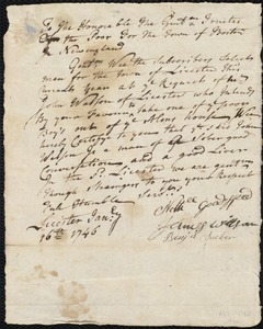 Document of indenture: Servant: Sloaper, Hannah. Master: Watson, John. Town of Master: Leicester. Selectmen of the town of Leicester autograph document signed to the Overseers of the Poor of Boston: Endorsement Certificate for John Watson.