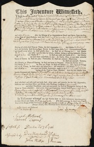 Document of indenture: Servant: Fairfield, Samuel. Master: Lyman, Gad. Town of Master: Northampton