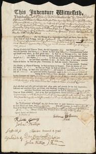 Document of indenture: Servant: Scrivener [Scrivner], Benjamin. Master: Brewer, John. Town of Master: Boston