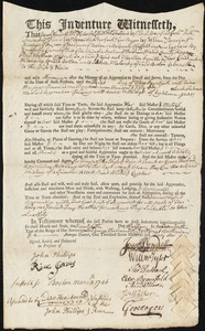 Document of indenture: Servant: Smith, Martha. Master: Melendy, John. Town of Master: Boston