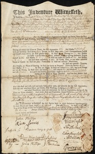 Document of indenture: Servant: Moore, Mordecai [Mordicai]. Master: Nichols, Alexander [Allesand]. Town of Master: Oxford