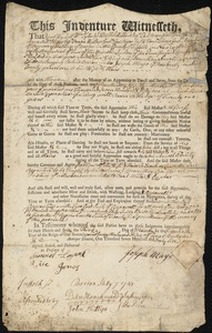 Document of indenture: Servant: Smallig, Jonathan. Master: Mayo, Joseph. Town of Master: Roxbury