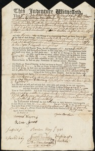 Document of indenture: Servant: Green, John. Master: Barber, John. Town of Master: Boston