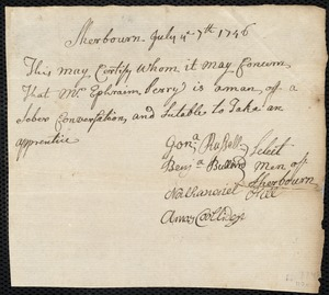 Document of indenture: Servant: Barnett, Thomas. Master: Perry, Ephraim. Town of Master: Sherburn. Selectmen of the town of Sherburn autograph document signed to the [Overseers of the Poor of Boston]: Endorsement Certificate for Ephraim Perry.