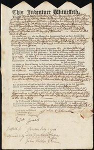 Document of indenture: Servant: Crouch [Croutch], Benjamin. Master: Caldwell, John. Town of Master: Rutland