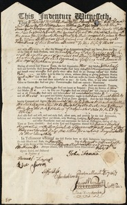 Document of indenture: Servant: Still, Mary. Master: Fenne, John. Town of Master: Boston