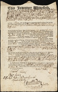 Document of indenture: Servant: Dean, Ephraim. Master: Salter, Richard. Town of Master: Mansfield