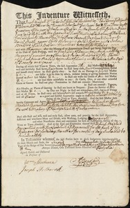Document of indenture: Servant: Rust, Benjamin. Master: Bradford, John. Town of Master: Boston