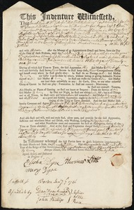 Document of indenture: Servant: Cook, John. Master: Little [Litle], Thomas. Town of Master: Kingsfield