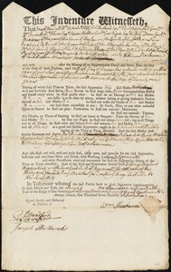 Document of indenture: Servant: Rust, Nathaniel. Master: Sherburne, William. Town of Master: Boston
