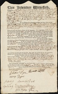 Document of indenture: Servant: Scolly, Ellenor. Master: Little, Thomas. Town of Master: Kingsfield