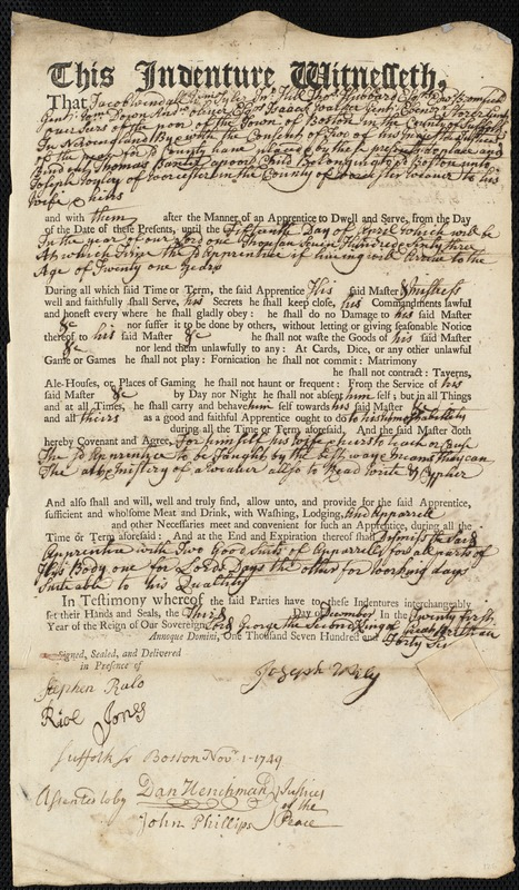 Document of indenture: Servant: Baxter, Thomas. Master: Wyley, Joseph. Town of Master: Worcester