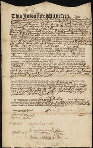 Document of indenture: Servant: Pateson, Joseph. Master: Barnard, James Jr. Town of Master: Boston