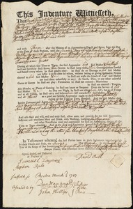 Document of indenture: Servant: Richardson, Benjamin. Master: Bell, David. Town of Master: Boston
