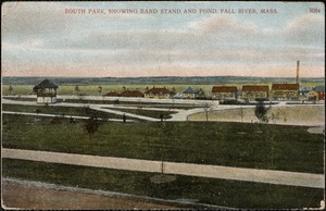South Park, showing band station and pond, Fall River, Mass.
