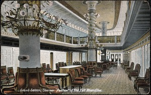 Grand saloon, Steamer Puritan of the Fall River Line.