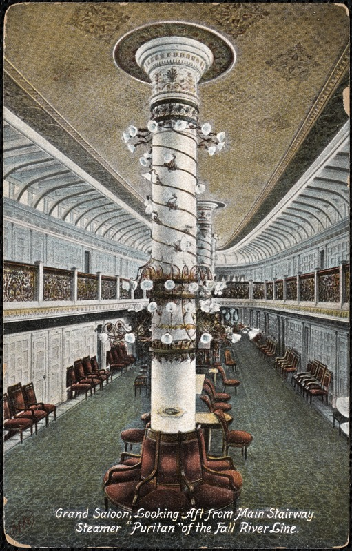 Grand saloon, looking aft from main stairway, Steamer Puritan of the Fall River Line
