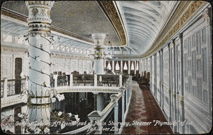 "Gallery saloon, aft from head of main stairway, Steamer ""Plymouth"" of the Fall River Line"