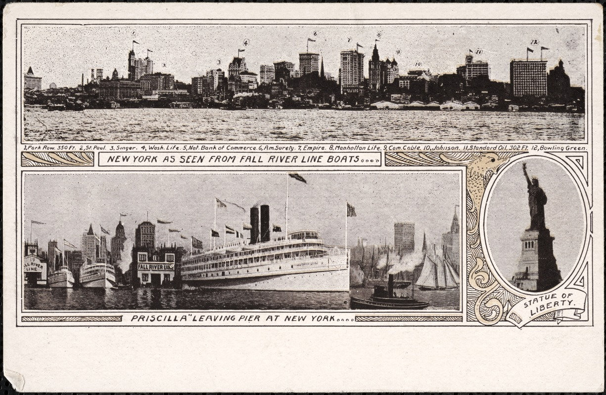 New York, as seen from all Fall River Line boats…Priscilla leaving pier at New York