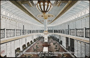 "Grand saloon looking aft from the main stairway Steamer ""Priscilla"" of the Fall River Line"