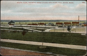 South Park, showing band stand and pond, Fall River, Mass.