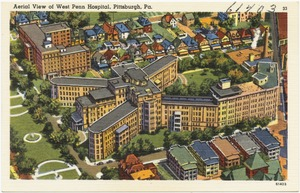 Aerial view of West Penn Hospital, Pittsburgh, PA.