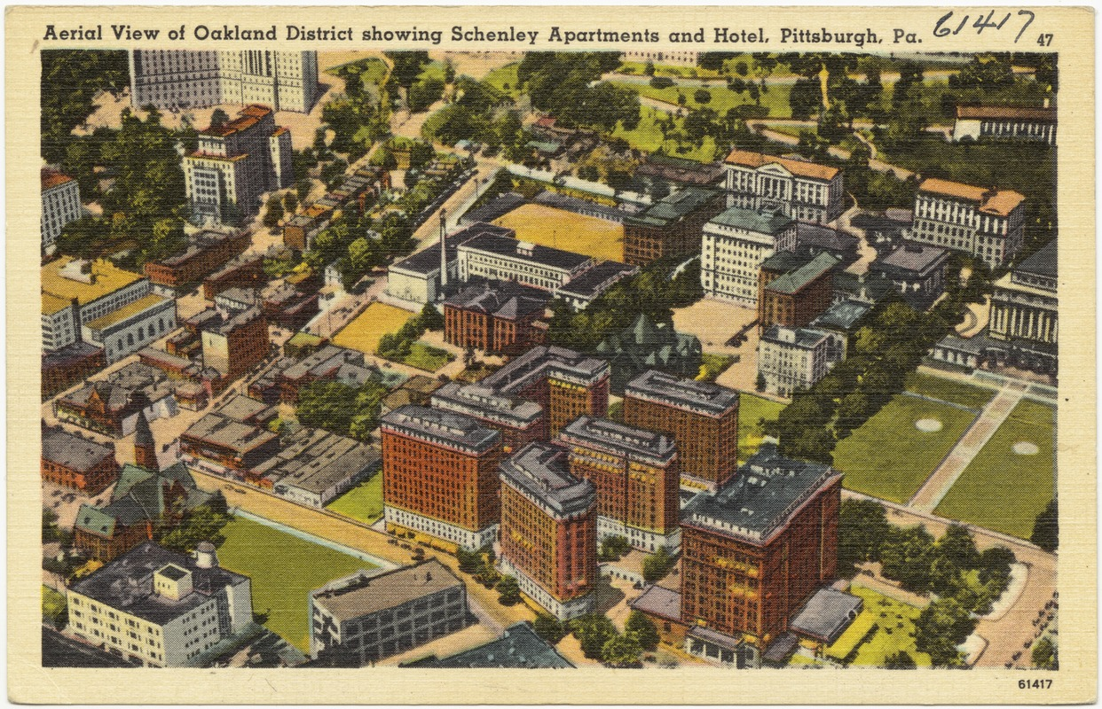 Aerial View Of Oakland District Showing Schenley Apartments And Hotel Pittsburgh Pa