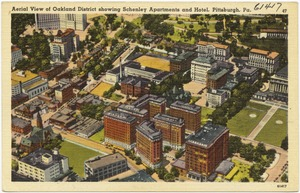 Aerial view of Oakland District showing Schenley Apartments and hotel, Pittsburgh, Pa.