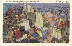 Aerial view of Pittsburgh skyscrapers, Pittsburgh, Pa.