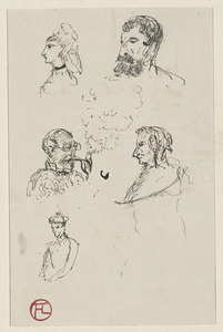 Five sketches of men and women; on verso, four studies of ship and a letter